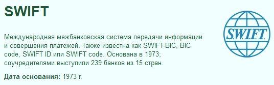 SWIFT перевод Cбербанк