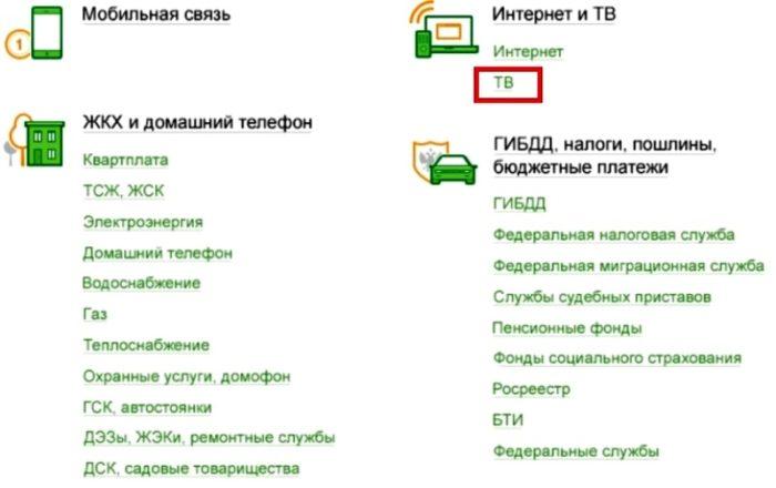 Оплата ТВ на Сбербанк онлайн