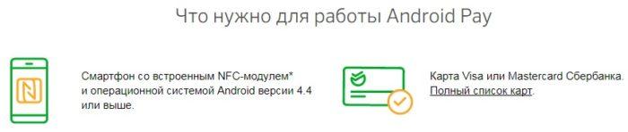 Что нужно для работы Android Pay